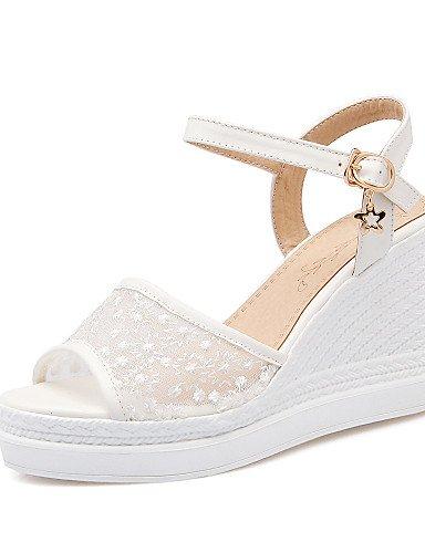 LFNLYX Chaussures Femme-Bureau & Travail / Habillé / Décontracté-Bleu / Rose / Blanc-Talon Compensé-Compensées / Bout Ouvert / A Plateau / A Blue