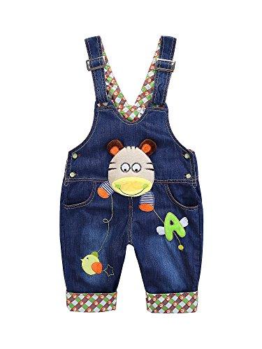 Baby Jungen Mädchen Denim Latzhose Kleinkind Hosenträger Jeans Overall Nilpferd Herstellergr.80 - Deutsche Gr.80