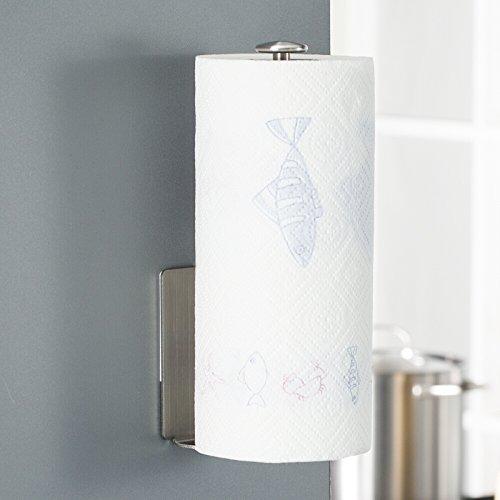 Foto de HOMFA Soporte para papel de cocina Portarrollos de Papel higiénico Acero Inoxidable Autoadhesivo 3M Color cepillado 28.7*10.2*5.4cm