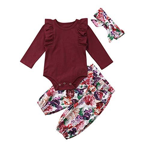SCFEL Infant Baby Mädchen Kleidung Rüschen Langarm Strampler Body + Floral Hosen + Bogen Stirnband 3 Stücke Outfit Sets Floral Langarm Body
