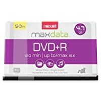 ‏‪Maxell DVD Recordable Media - DVD+R - 16x - 4.70 GB - 50 Pack Spindle - 120mm - 2 Hour Maximum Recording Time - 639013‬‏