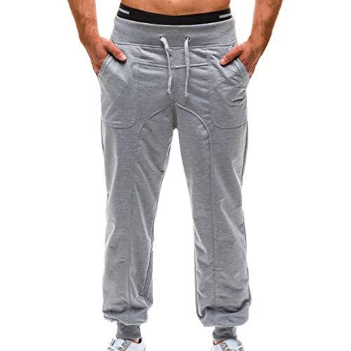 Mymyguoe Herren Freizeithose Pure Color Tethers Tasche Elastische Gürtel Lose Sporthose mit Bündchen Enger Beinabschluss Einfarbig Jogginghose Sweat-Pants