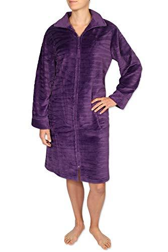 Miss Elaine Damen Bademantel aus gebürstetem Fleece mit Langen Ärmeln und Reißverschluss vorne - Violett - Large - Fleece-bademäntel Reißverschluss Damen Vorne