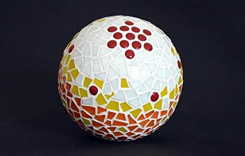 Handgemachte Mosaik Rosenkugel weiß gelb orange 16 cm