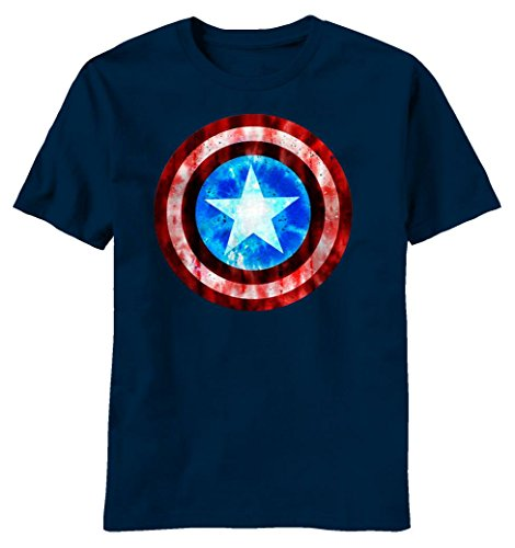 Marvel Captain America Shield Logo Grit Defense Herren Marineblau T-Shirt | S (Logo Shield Shirt)