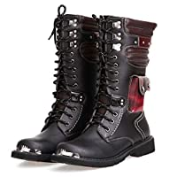 Mens Martin Boot British Fashion Genuine Leather Waterproof High Boot Army Gothic Motorcycle Steampunk Shoes Motorcycle Western Cowboy Boots Uniform Boots