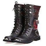 Lecc Mens Martin Boot British Moda Vera Pelle Impermeabile Alto Boot Army Gothic Moto Steampunk Scarpe da Moto Western Stivali da Cowboy Stivali Uniformi,37