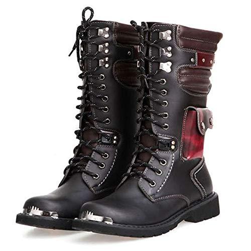 Lecc Mens Martin Boot Moda británica de Cuero Genuino a Prueba de Agua de Alta Bota del ejército gótico Motocicleta Steampunk Zapatos Motocicleta Occidental Botas de Vaquero Uniformes Botas,45
