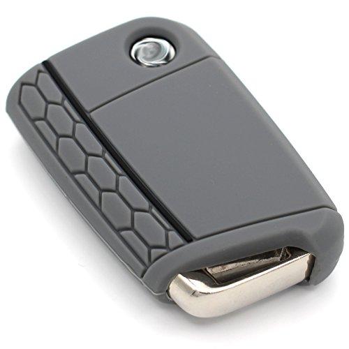 Schlüssel Hülle VB für 3 Tasten Auto Schlüssel Silikon Cover von Finest-Folia (Aschgrau Schwarz) (Auto Cover Seat)