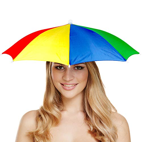 German Trendseller® 6X Umbrella - Super Hut - Deluxe ┃ Scherzartikel ┃ Party ┃ Sonnen & Regenschirm ┃ Für Jede Kopfform ┃ 6X Regenbogen Schirm Mütze (Hut Regenschirm Regenbogen)