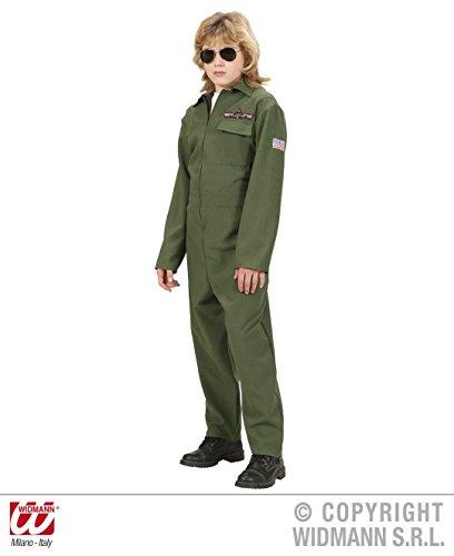 KINDERKOSTÜM - KAMPFJET PILOT - Größe 158 cm, Tarnanzug Armee Kampfflieger Air Force Piloten