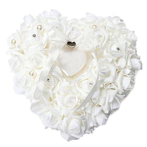 TONVER Romantic Simulation Rose Ring Kissen Herzform Geschenk Dekoration für Hochzeit Supplies Geschenk, Schaumstoff, Weiß, 6 * 20 * 20CM (Western-stil Hochzeit Ringe)