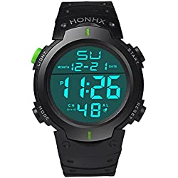 Sport Wrist Watch - Kingwo Fashion Waterproof Men's Boy LCD Digital Stopwatch Date Rubber Sport Wrist Watch(Green)
