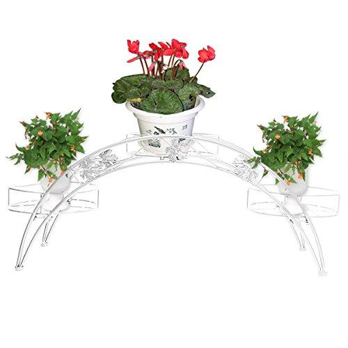 Étagère de Pots de Fleurs Plantes Arche en Métal Fer Forge pour Décoration Maison Jardin Blanc-Dazone®