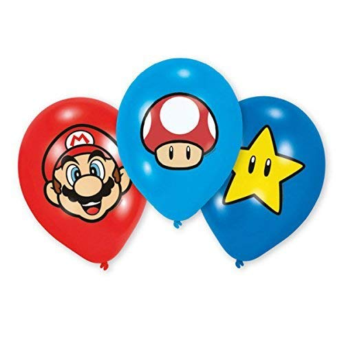 6 Luftballons * SUPER MARIO BROS. * für Kinderparty und Kindergeburtstag // Deko Ballons Party Set Kinder Geburtstag Motto