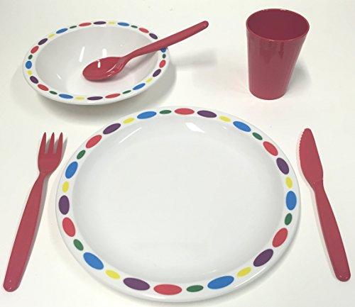 Harfield en plastique polycarbonate pour enfant Galets Ensemble de vaisselle – Assiette, bol, Gobelet et couverts (Rouge)
