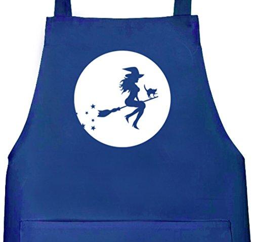 Halloween Grillen Barbecue Grill Schürze Kochschürze mit Halloween - Hexe Motiv, Größe: onesize,Royal Blau (Blaue Hexe Halloween Kostüm)