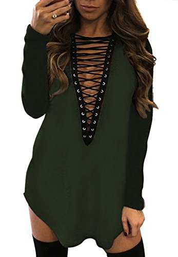 Yidarton Damen Minikleid Lace-up Lange Ärmel Tiefe V-Ausschnitt Mini Hemdkleid Tops Bluse (Small, Grün) Grüne Mini-kleid