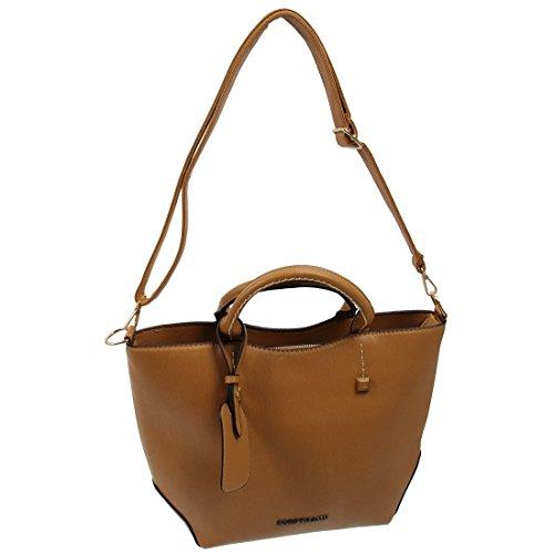 SODIAL(R) Nuove donne messenger bag delle donne spalla borse in pelle moda donna bag-Borgogna Marrone - marrone