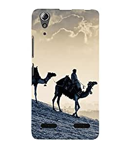 Fuson Premium Back Case Cover Desert With yellow Background Degined For Lenovo A6000