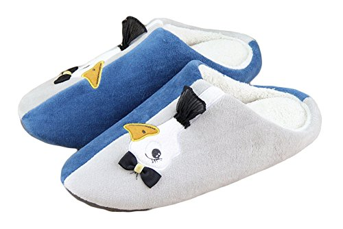 Auspicious beginning Embroidered Swan Flannel Stitching Color Home Bedroom Slipper For Women Bleu