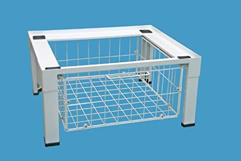 daniplus© Untergestell, Unterbausockel, Sockel, Podest für Waschmaschine / Trockner mit Drahtkorb für weiteren Stauraum - vormontiert und