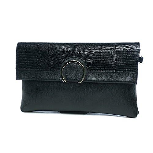 TaoMi Homw- Clutch Female Großraum Umschläge Einfache Handtasche Messenger Bag / Mit Schultergurt Schwarz
