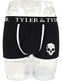 Tyler & Tyler - Boxer Homme Noir, Tête De Mort, Crâne Blanc
