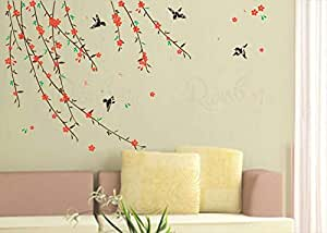 Rainbow Mazic Walls Reusable Creeper Floral Vine with Sparrow Birds (Glossy PVC Paper) - Set of 11 Pieces| RNS 82
