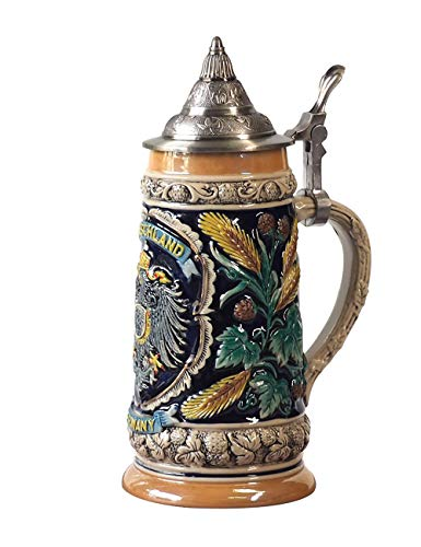 AmoyArt Beer Jug German Beer Jug Deutschland Beer Mug Chop Biere Bierkrug German Beer Stein With Lid Bier Stein Mug Krug Steins 0.6L