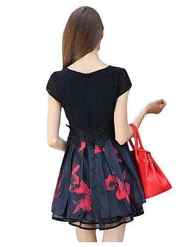 PU&PU Robe Aux femmes Trapèze Street Chic,Fleur Col Arrondi Mini Polyester BLACK-L