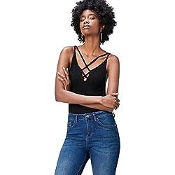 FIND 17AMZ017 camiseta tirantes mujer, Negro (Black), 40 (Talla del Fabricante: Medium)