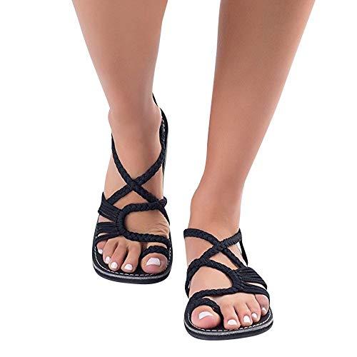 Sandalias planas Sandalias planas Mujeres Zapatos planos Sandalias Damas Cuerda de nylon Chanclas Sandalias Zapatos de verano Correa tejida Moda Zapatillas de playa al aire libre Zapatillas Negras,