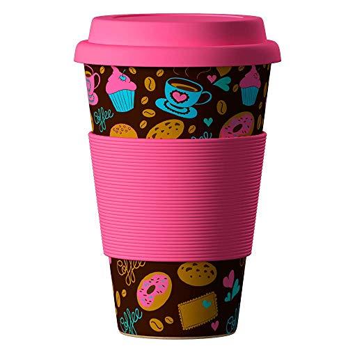 Bambus Becher wiederverwendbare Kaffeetasse mit dichtem Deckel, Trinkloch und Silikonhülle - Bamboo Eco ECoffee Cup - lebensmittelecht und spülmaschinenfest 400 ml Donuts