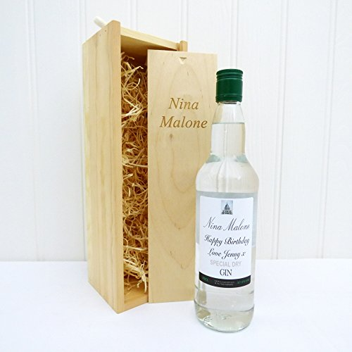 Personalised Gin in Engraved Wooden Gift Box - Gift ideas for Christmas presents, Birthday, Anniversary & Congratulations presents