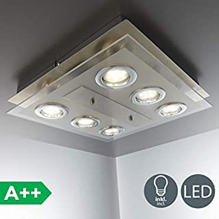 B.K.Licht LED ceiling light, 6 GU10 3W bulbs included, 250Lm, warm white 3000K, flushlight fitting, square ceiling lamp for kitchen, living room, matt nickel, metal/glass, 230V, IP20