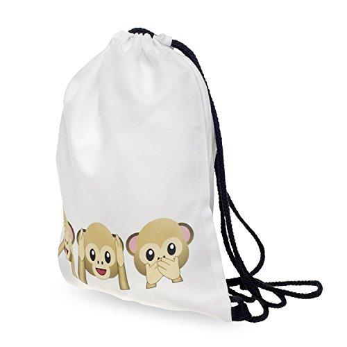 Imagen de bolsa monkeys monos monito smileys emoticons emoji funda bolsa bolsa de yute bolsa  loomi disfrazados alternativa