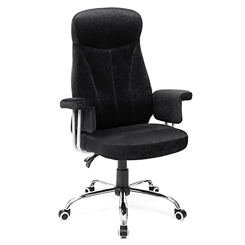 SONGMICS Drehstuhl mit hoher Rückenlehne, höhenverstellbarer Bürostuhl mit Samtbezug, schwarz, OBG41B