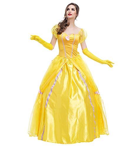 ck Gelbe Fee Frauen Halloween Europäischen Retro Gericht Kleid Märchen Thema Kleidung Bühnenkleidung,Yellow-M ()