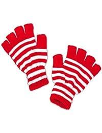 Handschuhe gestrickt, fingerlos rot-weiß gestreift
