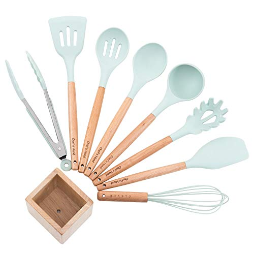 Küchenhelfer Set Silikon Küchenutensilien aus Edelstahl und Holzoptik, Aufhängen Hitzebeständig Kochbesteck, Schneebesen, Pfannenwender, Spaghettilöffel,Zange, Schöpflöffel - Chef\'s Hand (9 Teilig)