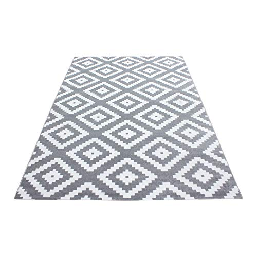 HomebyHome Moderner Kurzflor Teppich Karo geometrisch Grau Weiss Meliert Wohnzimmer, Größe:160x230 cm