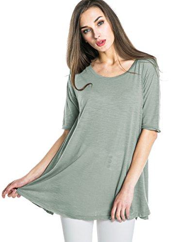 Urban GoCo Femmes Manches Courtes Couleur Unie T-Shirts Tees Chemisiers Occasionnels Tops Vert