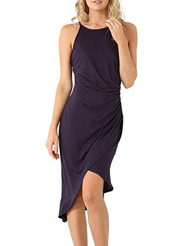 Eliacher Frauen hling und Sommer einfachen Falten Weste Rock Kleid 6070 (Rock Stricken Textur)