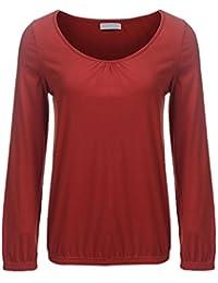 41f155fd55b1 Meaneor Damen Langarm V Ausschnitt Oversize Lose Bluse Shirt Oberteil mit  Gummizug am Saum