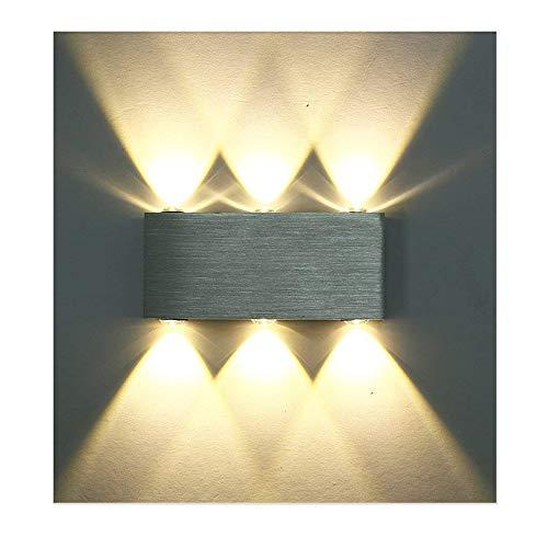 Lightess Wandlampe 6W LED Wandleuchte Innen Modern Up Down aus Aluminium für Wohnzimmer Schlafzimmer Treppenhaus Flur, Warmweiß