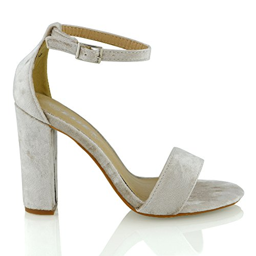 Essex Glam Sandalo Donna Peep Toe Tacco a Blocco Cinturino Caviglia Champagne Velluto