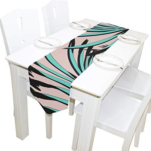 Yushg Palm Green Leaf Kommode Schal Tuch Abdeckung Tischläufer Tischdecke Tischset Küche Esszimmer Wohnzimmer Home Hochzeitsbankett Dekor Indoor 13 x 90 Zoll