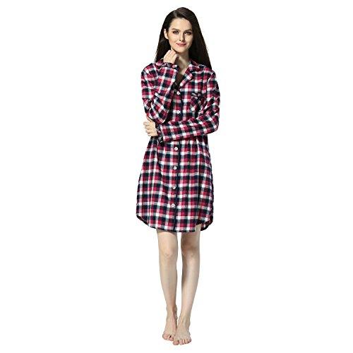 Damen Nachthemd Baumwolle Plaid Pyjama Lang Schlafshirt Freizeit und Mode Schlafkleid (Rotwein, S) (Baumwoll-flanell-nachthemd Damen)