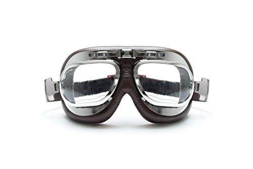 Gafas Moto - Mascara en piel marrón perfil de acero cromo con lentes antihumo y antichoque by Bertoni Italy - AF191CRB
